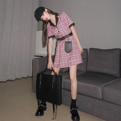 松本丧丧 夏季新款2020韩版短裙女学生a字裙暗粉收腰格子连衣裙子