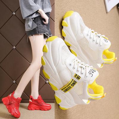 明星同款内增高老爹凉鞋女2020年新款松糕厚底网面透气运动鞋