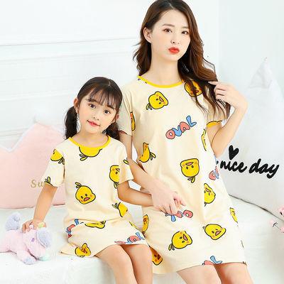 女童睡裙短袖纯棉亲子儿童睡衣中大童夏季短袖女孩公主宝宝家居服