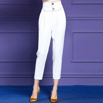 休闲裤女2020春夏装设计感洋气时尚简约显瘦直筒工装百搭九分裤女