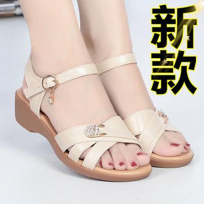 100%【头层牛皮】妈妈鞋真皮凉鞋女大码女士中老年软底防滑牛筋底