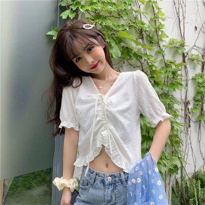 2020夏新款短袖韩版小心机抽褶V领木耳荷叶边衬衫百搭上衣女学生