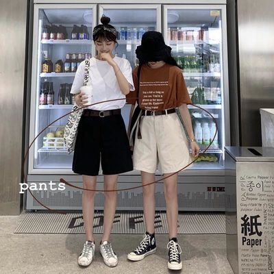 裤子黑色短裤女夏季宽松韩版西装工装裤高腰白色休闲裤五分阔腿裤