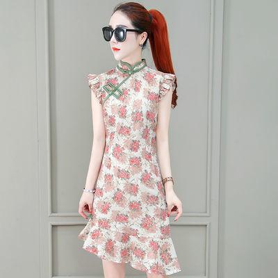 复古时尚新款2020夏季旗袍式短裙修身显瘦花色不规则鱼尾连衣裙