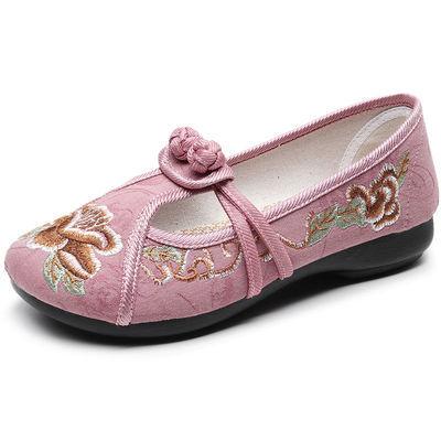 君知丰爆款传统绣花鞋汉服鞋子夏季新款软底妈妈中老年时尚潮布鞋