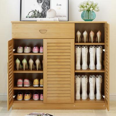 楠竹鞋架鞋柜简易多层鞋柜实木门厅柜玄关柜多功能收纳柜鞋柜子