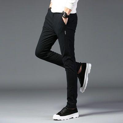 2020新款男裤子休闲裤春季简约九分裤韩版修身纯色青年男士小脚裤