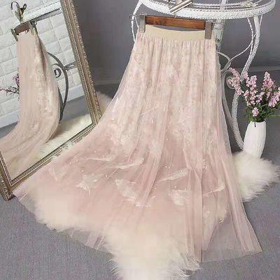 粉色珠超半身裙仙女高腰灰色百褶裙彩色长裙超仙丝网蕾丝网纱钉珠