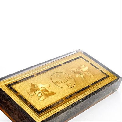 金都招远精品天然金矿石黄金石原矿石厚德载物水晶金砖