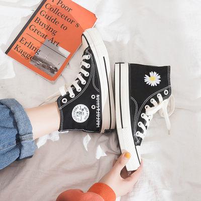 黑色1970s小雏菊高帮帆布鞋女权志龙GD同款鞋子学生百搭ins板鞋子