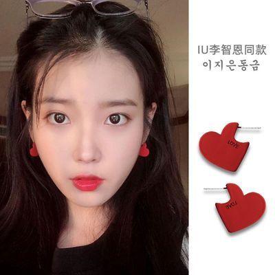 S925银针韩版耳环红色爱心女生气质网红简约LOVE个性设计 2020款