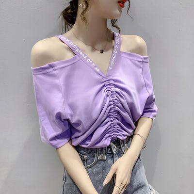 欧洲站2020新款漏肩T恤女短袖减龄设计感小众上衣性感时尚欧货潮
