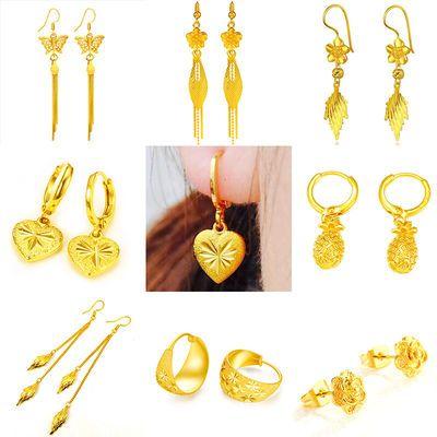 【多款可选】镀黄金耳环长款耳钉耳饰女学生韩版个性简约沙金饰品