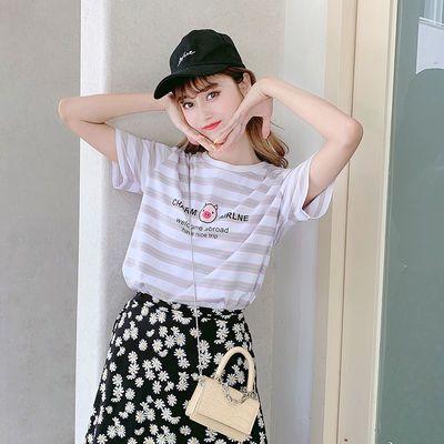 95棉条纹短袖t恤女2020新款夏季韩版宽松洋气印花百搭宽松上衣潮