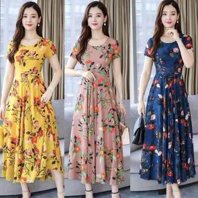 妈妈装连衣裙春夏装新款短袖中老年女装韩版宽松显瘦大码时尚裙子
