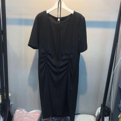 实拍 港风醋酸缎面真丝连衣裙宽松褶皱设计感小众显瘦长款短袖女