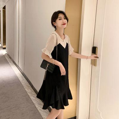 大码女装连衣裙2020新款夏季雪纺胖mm洋气减龄显瘦遮肚黑色假两件