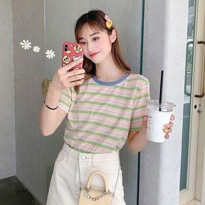 95棉条纹短袖t恤女2020年夏季女装韩版宽松学生百搭半袖上衣ins潮