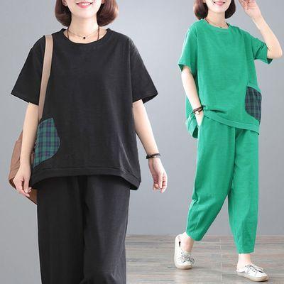 中年妈妈装夏季大码女装中老年休闲套装宽松显瘦短袖运动服两件套