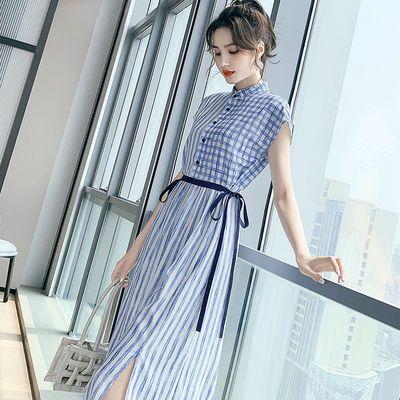 素都优雅条纹连衣裙2020新款时尚淑女收腰系带开叉女神范衬衫裙子
