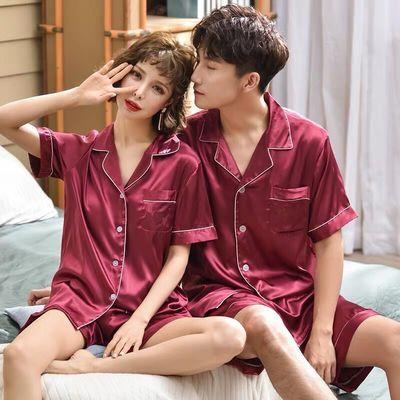 夏季情侣冰丝睡衣短裤短袖薄款休闲韩版男士女士加大码家居服套装