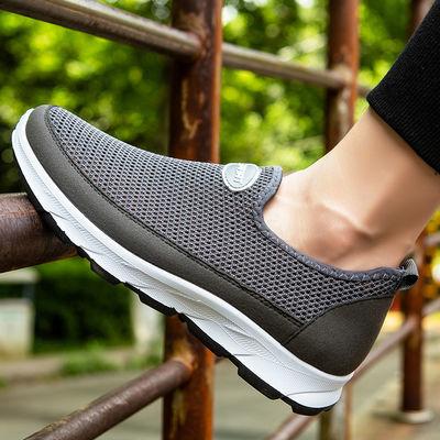 夏季老北京布鞋男鞋网鞋透气休闲鞋父亲鞋一脚蹬中老年爸爸鞋防滑