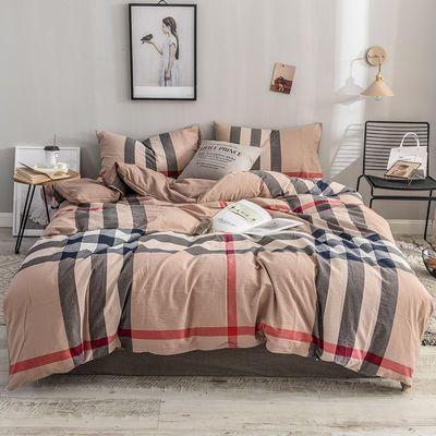 100%全棉色织水洗棉四件套纯棉被套双人床单被罩三件套床上用品4