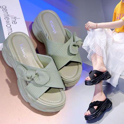 厚底拖鞋女夏外穿时尚2020新款蝴蝶结网红懒人一字拖鞋松糕凉拖鞋