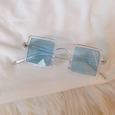 蓝色系欧美复古猫眼霹雳墨镜沙雕蹦迪眼镜拍照情侣三角圆形太阳镜