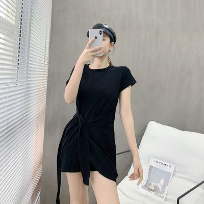 实拍连衣裙2020新款潮夏季裙子女士韩版不规则学生显瘦短款短袖裙