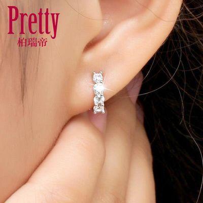 纯银耳环女耳扣小耳圈韩版简约清新耳钉水晶可爱学生少女心耳饰品