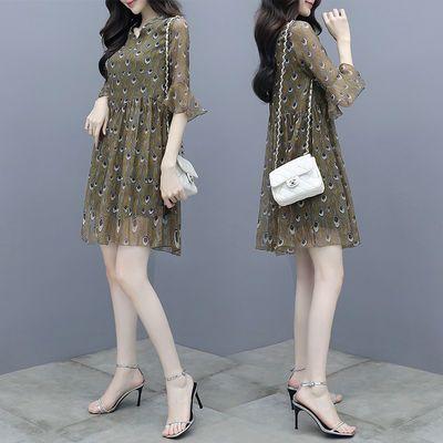 2020夏季新款女装 韩版宽松裙子显瘦羽毛印花碎花雪纺连衣裙女 夏
