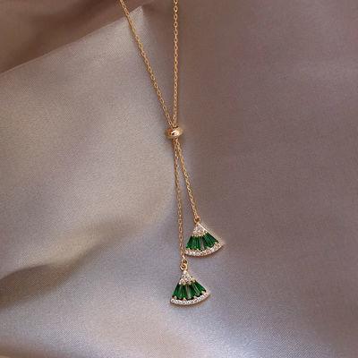 。巴洛克风经典项链祖母绿扇形宝石微镶闪钻项链高级轻奢名媛锁骨