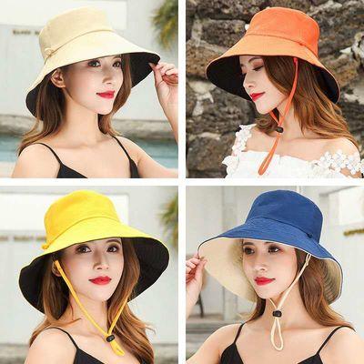 渔夫帽子女夏季日系双面拼色大沿夏天遮阳防晒帽韩版可折叠收纳