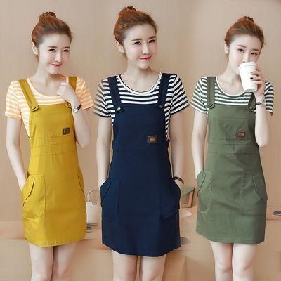 连衣裙女春夏新款韩版显瘦时尚背带裙小清新两件套套装裙
