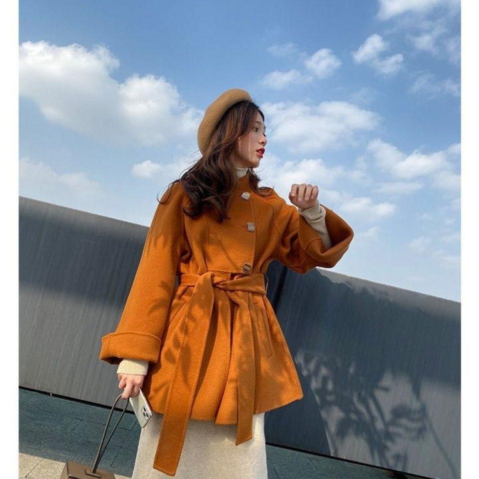 韩版修身秋冬双面羊绒阿尔巴卡中长款大衣直销