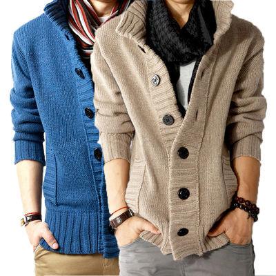 春秋冬季男士加厚毛衣立领开衫线衣宽松休闲外套青年针织衫加绒潮