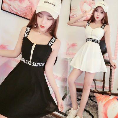 2020新款女装韩版性感吊带抹胸字母镂空连衣裙夜场酒吧蹦迪服装潮