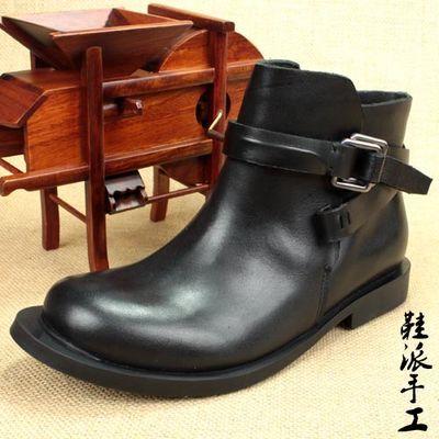 马丁骑士靴女短筒单靴手工牛皮大头鞋真皮休闲大边圆头平底侧拉链