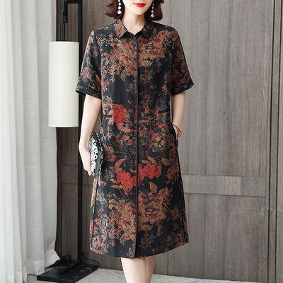 大码妈妈装连衣裙女2020夏季新款女装宽松显瘦贵夫人复古印花裙子