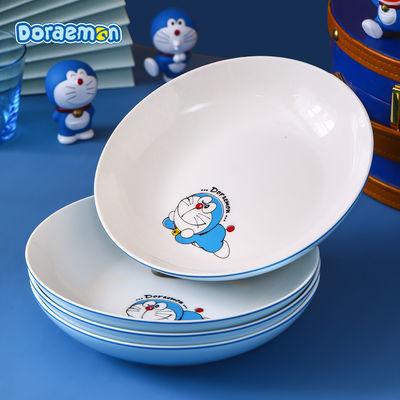 。哆啦A梦盘子菜盘家用陶瓷卡通动漫餐具可爱少女心圆汤盘机器猫
