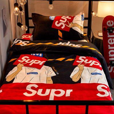 网红款ins潮牌Boy床上四件套双人1.8m学生宿舍单人床单被套三件套