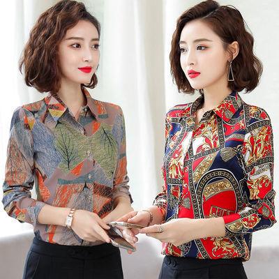 衬衫女长袖春夏装2020新款韩版印花衬衣女短袖修身雪纺衫碎花上衣