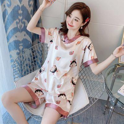 37605/M-5XL冰丝睡衣女夏季薄款短袖V领学生韩版可爱套装性感加大家居服