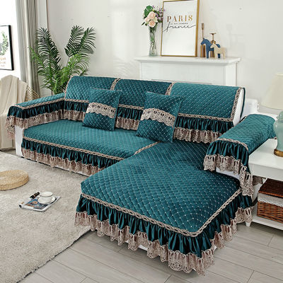 北欧简约现代法兰绒沙发垫布艺短毛绒沙发套沙发巾防滑定做