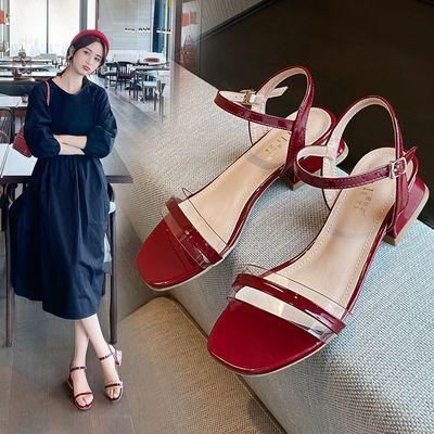 广东货一字带凉鞋女仙女风2020夏季新款两穿低跟粗跟韩版真皮女鞋