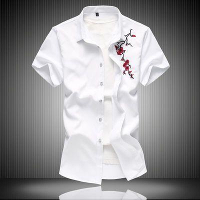 夏季碎花刺绣短袖衬衫男中国风免烫加肥大码青年半袖薄白衬衣修身