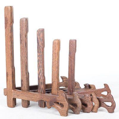 普洱茶饼展示架圆盘陶瓷装饰盘子挂盘摆件工艺品相框实木质支架托