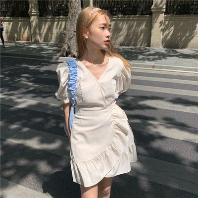 夏季2020韩版新款赫本风性感修身V领短裙系带收腰不规则连衣裙ins【成团后7天内发完】