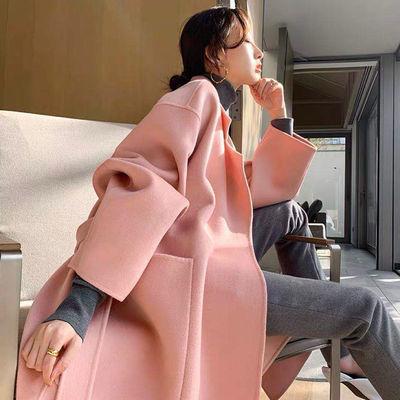 巧巧专拍 新款韩版时尚阿尔巴卡双面羊绒大衣